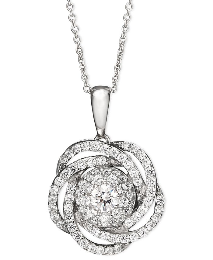 Wrapped in Love - ™ Diamond Knot Pendant Necklace in 14k White Gold (1 ct. t.w.)