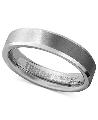 Triton Mens White Tungsten Carbide Ring Wedding Band 5mm