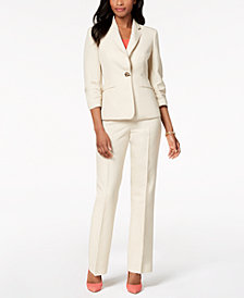 Kasper One-Button Blazer & Straight-Leg Pants