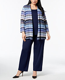 Kasper Plus Size Lace Cardigan, U-Neck Shell & Trouser Pants