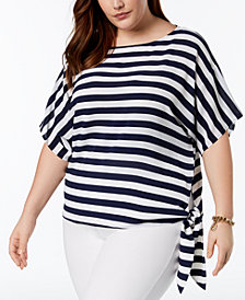 MICHAEL Michael Kors Plus Size Striped Side-Tie Blouse