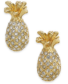 kate spade new york Gold-Tone Pavé Pineapple Stud Earrings
