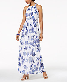 Nine West Printed Halter Maxi Dress