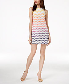 Trina Turk Macee Fringe-Striped Shift Dress