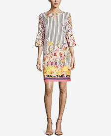 ECI Mixed-Print Shift Dress