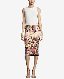 ECI Floral-Print Pencil Skirt