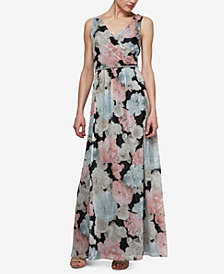 SL Fashions Beaded-Waist Floral Chiffon Gown