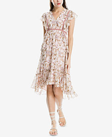 Max Studio London Ruffle-Trim Printed V-Neck Dress, Created for Macy's