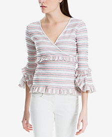 Max Studio London Striped Ruffle-Trim Top, Created for Macy's