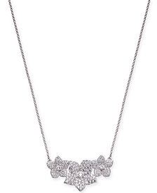 "kate spade new york Silver-Tone Pavé Flower Pendant Necklace, 17"" + 3"" extender"