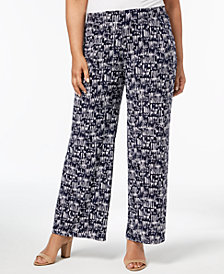 JM Collection Plus Size Printed Jacquard Soft Pants, Created for Macy's
