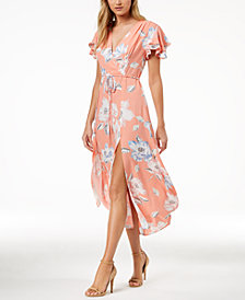 French Connection Floral-Print Faux-Wrap Maxi Dress