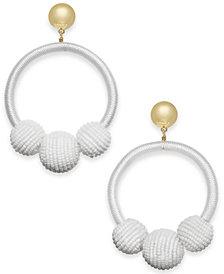 kate spade new york Gold-Tone Wrapped & Beaded Hoop Earrings