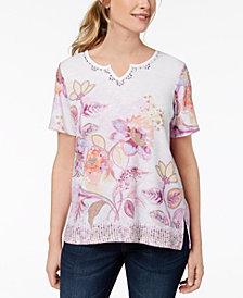 Alfred Dunner Petite Floral-Print Embellished Top