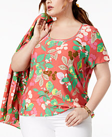 Tommy Hilfiger Plus Size Printed Scoop-Neck T-Shirt, Created for Macy's