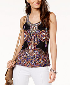 I.N.C. Embellished-Neck Halter Top, Created for Macy's
