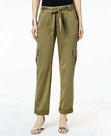 I.N.C. Embellished-Pocket Satin Cargo Pants, Created for Macy's