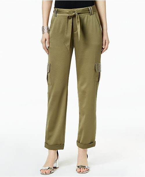 d6cd0ad967a5ff ... INC International Concepts I.N.C. Embellished-Pocket Satin Cargo Pants,  Created for Macy's ...