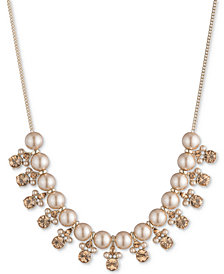 "Givenchy Gold-Tone Imitation Pearl & Crystal Collar Necklace, 16""+ 3"" extender"