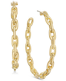 kate spade new york Gold-Tone Large Link Hoop Earrings
