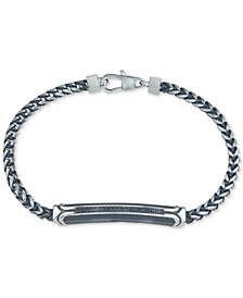 Esquire Men's Jewelry Diamond Link Bracelet (1/10 ct. t.w.) in Black or Blue Ion-Plated Stainless Steel, Created for Macy's