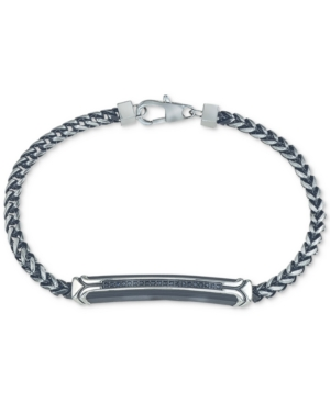 Diamond Link Bracelet (1/10 ct. t.w.) in Black or Blue Ion-Plated Stainless Steel