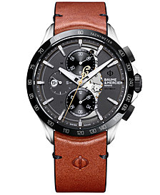 Baume & Mercier Men's Swiss Automatic Chronograph Clifton Club Indian Light Brown Leather Strap Watch 44mm - Limited Edition