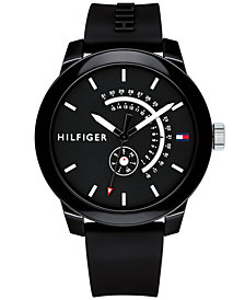 Tommy Hilfiger Men's Black Silicone Strap Watch 44mm Created for Macy's