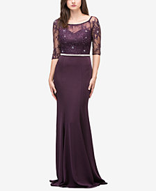 Dancing Queen Juniors' Embellished Lace-Bodice 3/4-Sleeved Gown