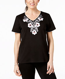 Alfred Dunner Petite Appliqué Embroidered Top