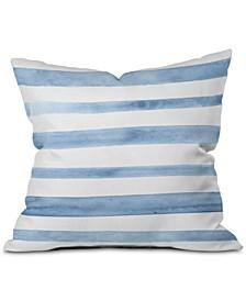 Blue Watercolor Stripes Square Decorative Pillow