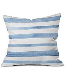 Deny Designs Blue Watercolor Stripes Square Decorative Pillow