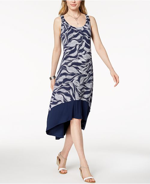 Style & Co Printed High-Low Midi Dress, Created for Macy's