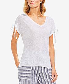 Vince Camuto Linen Drawstring-Sleeve T-Shirt