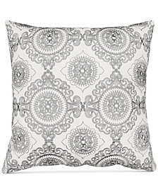 "Hallmart Collectibles Gray Embroidered 20"" Square Decorative Pillow"