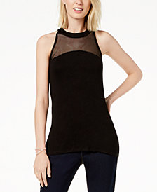 I.N.C. Sleeveless Fishnet-Contrast Top, Created for Macy's