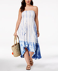 Raviya Plus Size Tie-Dyed Tube Waterfall Maxi Dress Cover-Up