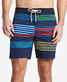 """Tommy Hilfiger Men's Classic Fit Colorblocked Stripe 6.5"""" Board Shorts, Created for Macy's"""