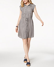 Style & Co Chambray Drawstring-Waist Shirtdress, Created for Macy's