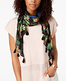 I.N.C. Parrot Rainforest Tassel Sarong Cover-Up & Scarf, Created for Macy's
