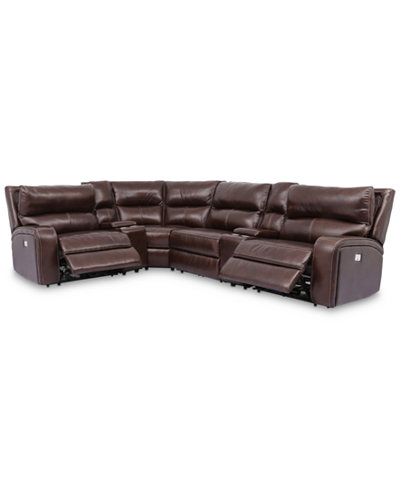 Brant 6-Pc. Leather Sectional Sofa With 2 Power Recliners, Power Headrests, 2 Consoles And USB Power Outlet