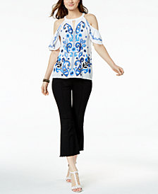 I.N.C. Embroidered Cold-Shoulder Top & Cropped Flare-Leg Jeans, Created for Macy's