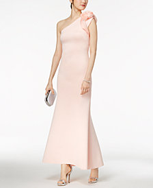 Betsy & Adam One-Shoulder Appliqué Gown