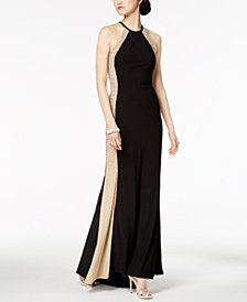 XSCAPE Mesh-Side Halter Gown