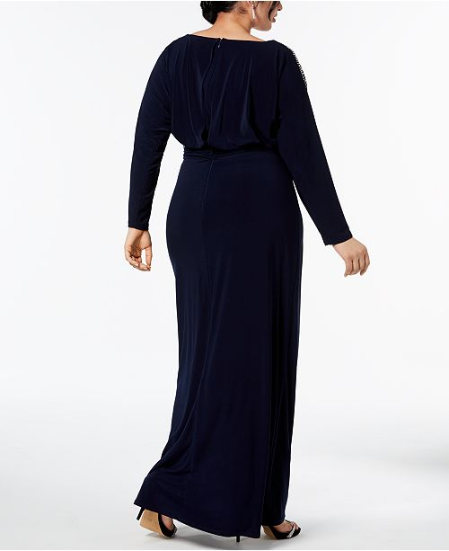 Betsy Navy amp; Embellished Plus Gown Adam Size p8rTqpw