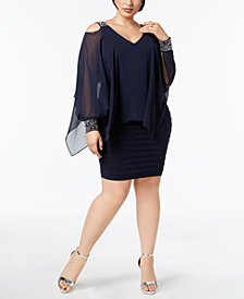 Betsy & Adam Plus Size Embellished Cold-Shoulder Overlay Dress