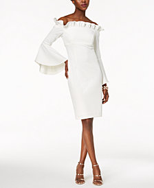 Xscape Off-The-Shoulder Bell-Sleeve Dress
