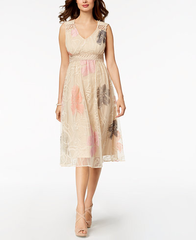 Taylor Embroidered Mesh Midi Dress