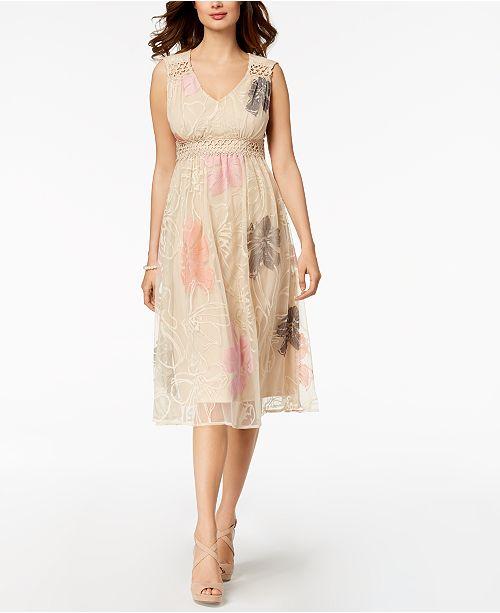 cb1c451c9a84b Taylor Floral Embroidered Mesh Midi Dress & Reviews - Dresses ...