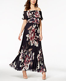 Xscape Off-The-Shoulder Printed Chiffon Gown